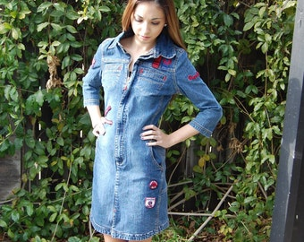 """Vintage """"Pepe Jeans London"""" Denim Jean Dress with Embroidery and Patches"""