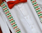 Red & Green Argyle Suspenders with Solid Red Christmas Holiday Bowtie Bow Tie - Baby / Toddler / Child