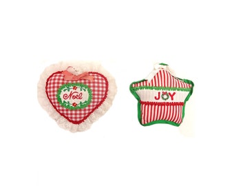 House Of Hattan Embroidered And Stuffed Fabric Christmas Tree Ornaments - Set of 2 - Joy And Noel