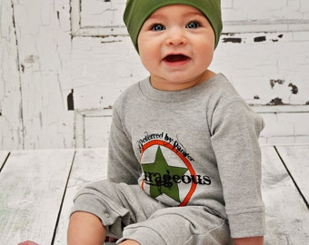 Cool Baby Boys Clothes Courageous Romper and Hat 0-3 months Newborn Boy Take Home Outfit