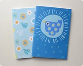 Bird Pocket Notebooks, Set of Two Recycled Chirpy Bird A6 Notebooks