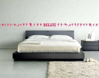 Ballet Dancers stripes wall art border - removable vinyl wall decal / sticker for kids bedroom or playroom decor (ID: 141012)