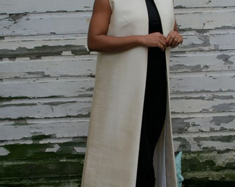 Vintage 60s Ivory Dove Silk Shantung Maxi Vest