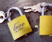 2.5 inch ETCHED GOLD LOCK  Small Laser Engraved Love Lock Custom Quote or Name or Date