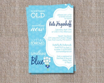Something Blue Bridal Shower Invitation, Printable Wedding Shower Invite