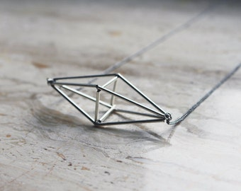 SALE 20% off! Himmeli inspired geometric pendant necklace, cage necklace in silver tone / geometric jewelry