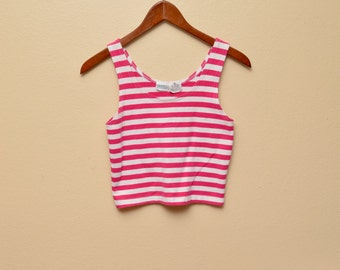 90s Pink Striped Crop Tank Top Womens Medium