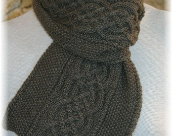 """Scarf for Men hand knit in soft natural undyed Yak/Bamboo blend """"Vancouver Island"""" - ideal gift for any occasion"""