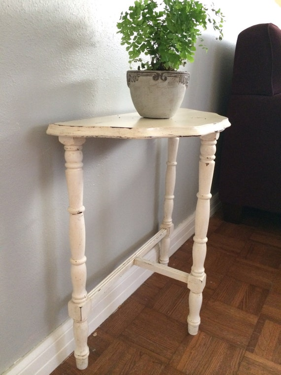 Foyer Table Name : Vintage half round wood night stand end table foyer