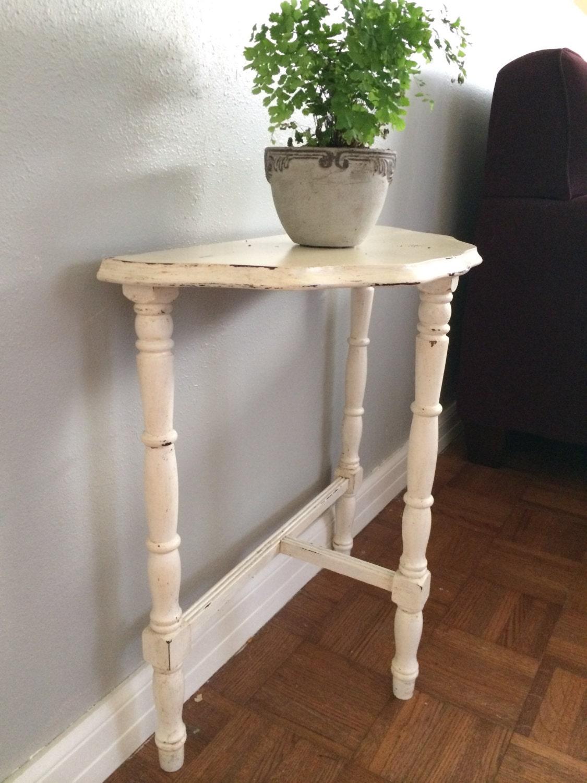 vintage half round wood night stand end table foyer table. Black Bedroom Furniture Sets. Home Design Ideas