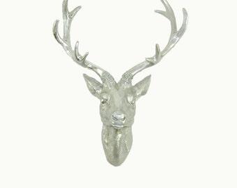 White Faux Taxidermy - Faux Deer Head - The Eloise in Chrome Leaf - Faux Taxidermy - Chrome Leafed Resin Deer Head - Deer Antlers Mounted