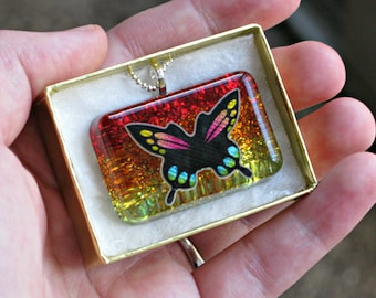 Rainbow Glitter Butterfly Necklace