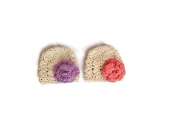 Baby Girl Twin Hats, Crochet Twin Hat, Crochet Twin Set, Crochet Baby Hats, Baby Twin Set, Twin Baby Girls, Twin Girl Hat, Twin Baby Hats