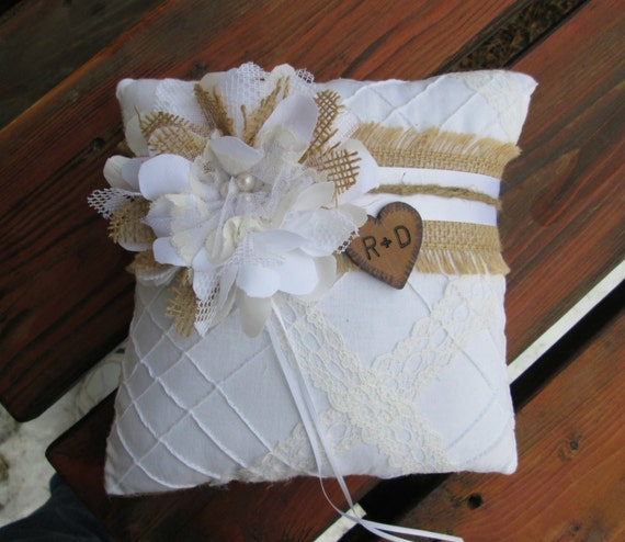 Monogram Wedding Ring Bearer Pillow: Personalized Ring Bearer Pillow Rustic Burlap And Lace
