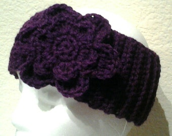 Purple Crochet Headband Ear Warmer Teen, Child, Adult
