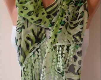 Green Chiffon Scarf with Lace Edge - Gift