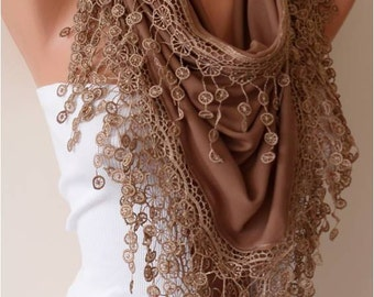 Light Brown Cotton Scarf with Lace Edge - Triangular Scarf - Trending Item - Gift Ideas - For Her- Christmas Gift
