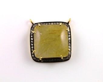 Pave Diamond Pendant, Pave Gold Rutile Pendant, Diamond Gold Rutile Charm, PaveFancy Cut Component,  Gold Plated over Silver. (RTLGDIA-01)