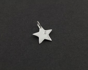 Sterling Silver Thick Flat Five Point Star Charm w/ White Sapphire w/ Open Jump Ring, Bright Polished Finish,   (SS/CH5/CR30)