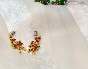 Vintage Christmas Earrings Choose Candy Canes or Christmas Trees