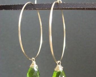 Peridot earrings, Gold Hoop earrings, August birthstone, Birthstone Earrings, Faceted Peridot Teardrop on gold filled hoop earrings.