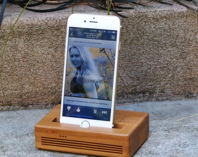 iPhone Plus Docking Station - The CONCERT Speaker Dock in BAMBOO – Use With or Without a Cover - Boosts the Sound