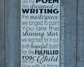 You are the Poem We I dreamed of Writing Baby Nursery Scripture Art Wooden Sign Painting Adoption