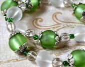 Green Stretch Bracelet Large 8 inch Size Mint Light Czech Glass Silver Pastel Spring Fashion Jewelry Elastic PaisleyBeading Free Shipping