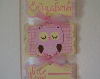 Baby Girl Owl Banner - Girl Owl Hospital Door Banner - Baby Girl Owl Shower - 3 cards