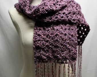 FREE SHIPPING - Crochet Scarf with fringe - Purple Haze