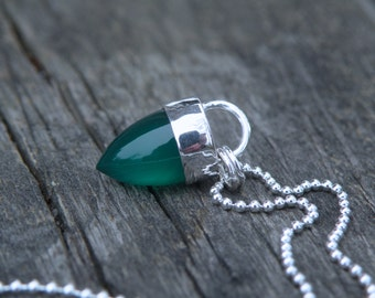 Green Onyx Necklace, Onyx Bullet Necklace, Green Onyx, Sterling Silver, Gemstone Bullet
