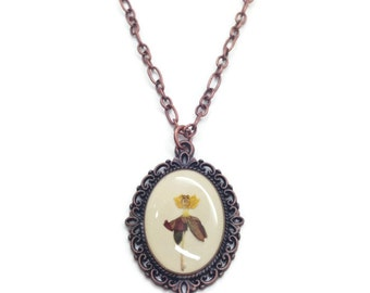 necklaces for women, pressed flower necklace, unique jewelry, copper necklace, flower cameo pendant, mothers necklace, real flower jewelry