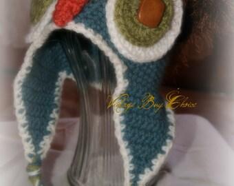 Handmade crocheted Owl beanie, farmbaby barnowl beanie, country baby, adorable crocheted baby beanie