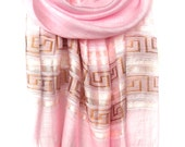 Pink Scarf. Piggy Pink Scarf. Sparkling Shawl. Bridesmaids Shawl. Glam Scarf Wedding Scarf. Metallic Scarf 20x70in (50x180cm) Ready2Ship