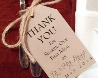 RUSTIC FLATWARE TAGS with twine or ribbon for any occasion - a great way to greet your guests sitting down to dinner!