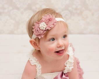 Baby headband, Vintage headband, newborn headband, vintage pink and ivory headband, infant headbands, baby hair bow, newborn photo prop