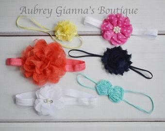 Headband Grab Bag- Set of Six mixed bows- Newborn headband- Toddler headband-  bow- Infant headbands- newborn hair bow- newborn photo prop