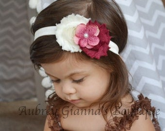 Baby Headband, Fall Headband, Holiday headband, newborn photo prop, infant headband, Baby hair bow, baby accessories