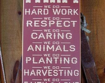 Wood Sign, On this Farm , We Do, Hard Work, Farm, Farm House, Family, Inspirational, Subway, Word Art, Handmade