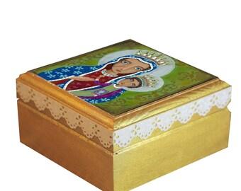 "Jewelry Box Wood Handmade Wooden Trinket Box,Treasure BOX Handmade, "" Black Madonna"" Evona"