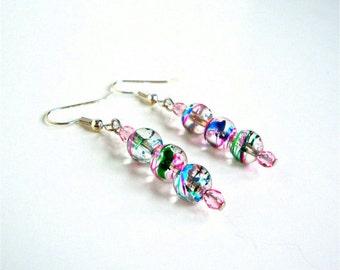 Colorful swirly bead earrings, glass beads earrings, pink earrings, beaded jewelry, gift for girls, for women