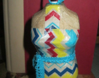 Summer Chevron Washi Tape Decoupage Paper Mache Mannequin Ornament