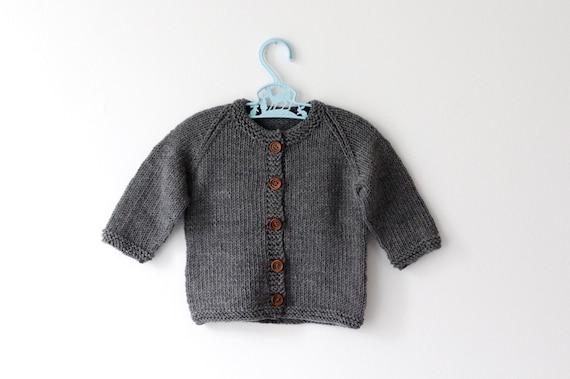 Charcoal - Merino Baby Cardigan 0-6 Months