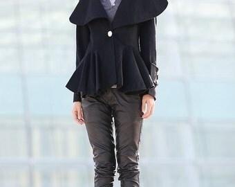 Black jacket short wool coat black wool mini women's coat   C184