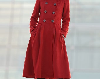 Red coat women coat wool coat long coat -C203