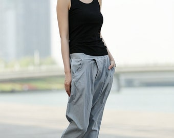 Grey Linen Harem Pants C373
