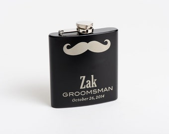 Mustache Flasks, Personalized Flasks, Groomsmen Gift, Best Man Flask, Engraved Stainless Steel Flask, Monogram Flask, Flasks