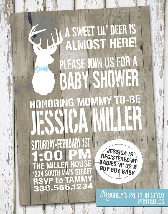 hunting theme sweet lil 39 deer baby shower invitation by meghilys