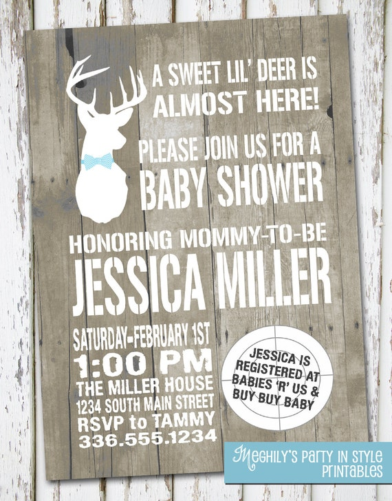 Hunting Theme Sweet Lil Deer Baby Shower Invitation By