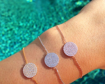 Medium Pave Disc Bracelet-Silver